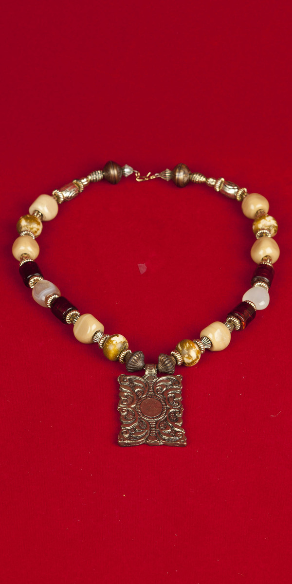Necklace with Khaki color stones , Brown beads and Golden Pendant