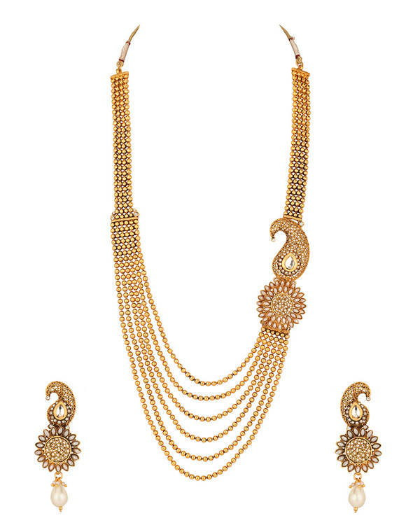necklace set with flower design one side pendant pearls
