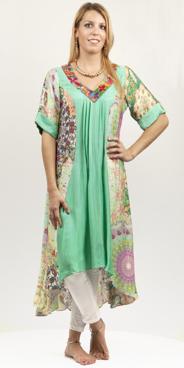 Pleated Multi-coloured Cotton Silk Tunic