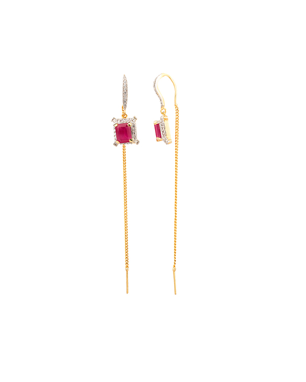 Designer Earrings Pair Of Majestic Thread Needle Geometric Pink Online Voylla