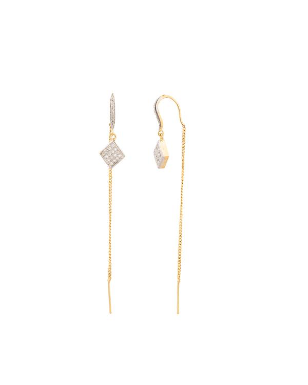 Designer Earrings Pair Of Majestic Crystals Thread Needle Online Voylla