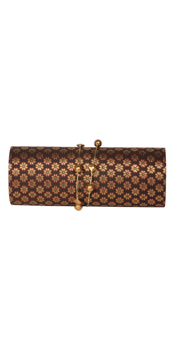 47ede24bd0c Buy Designer Clutches Contemporary Gold Floral Brocade Clutch Online ...