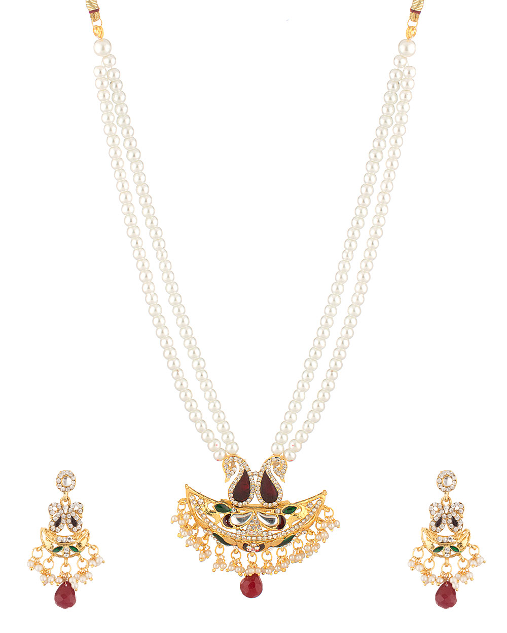 Buy Traditional Classic Pearl Beads Theme Necklace Set Online ...