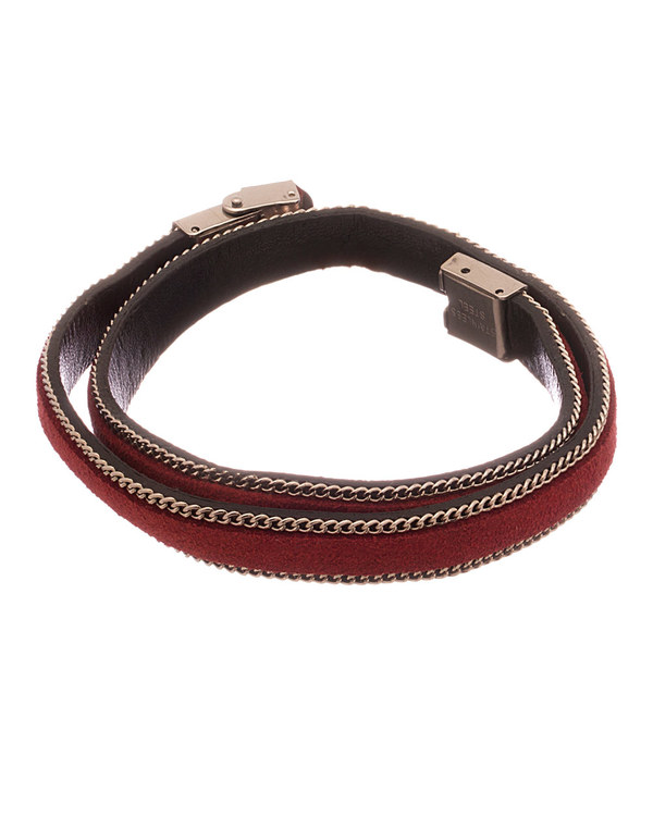 006bbca7102a2 Red Masculine Bracelet With Faux Leather Strap