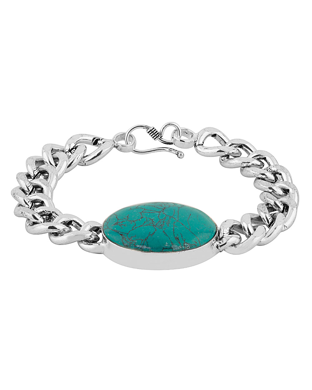 Buy Men\'s Silver Alloy Green Turquoise Studded Bracelet Online India ...