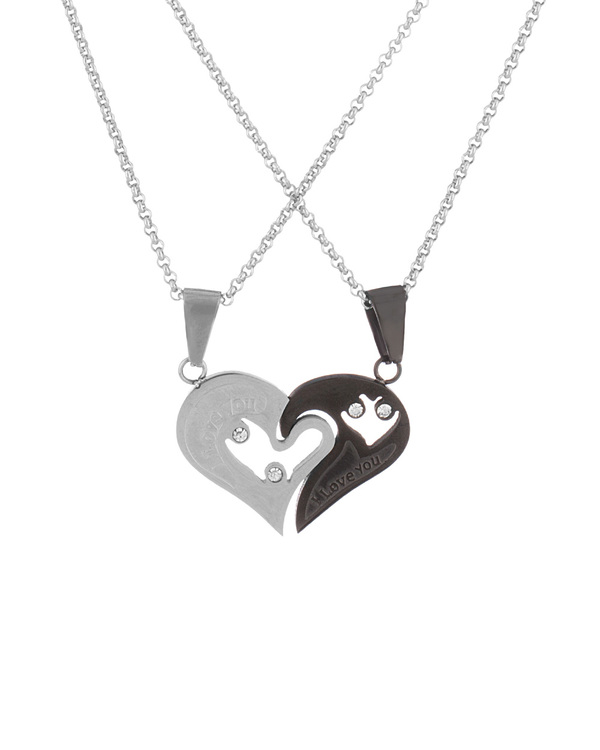 Buy designer mens pendants pair of 2 heart shape love couple pair of 2 heart shape love couple pendant chain mozeypictures Image collections