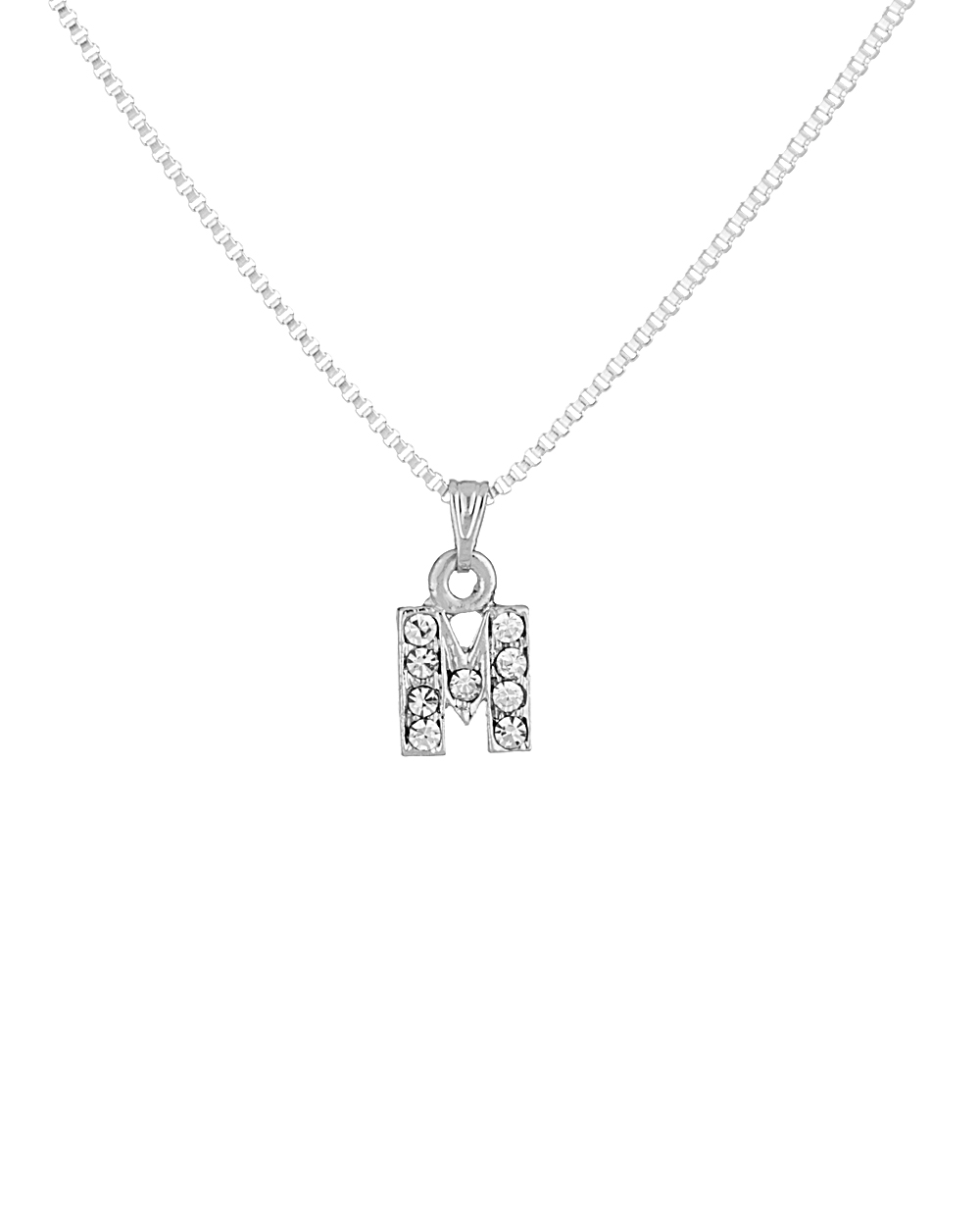 Glittering m alphabet pendant with chain for women buy designer glittering m alphabet pendant with chain for women aloadofball Image collections