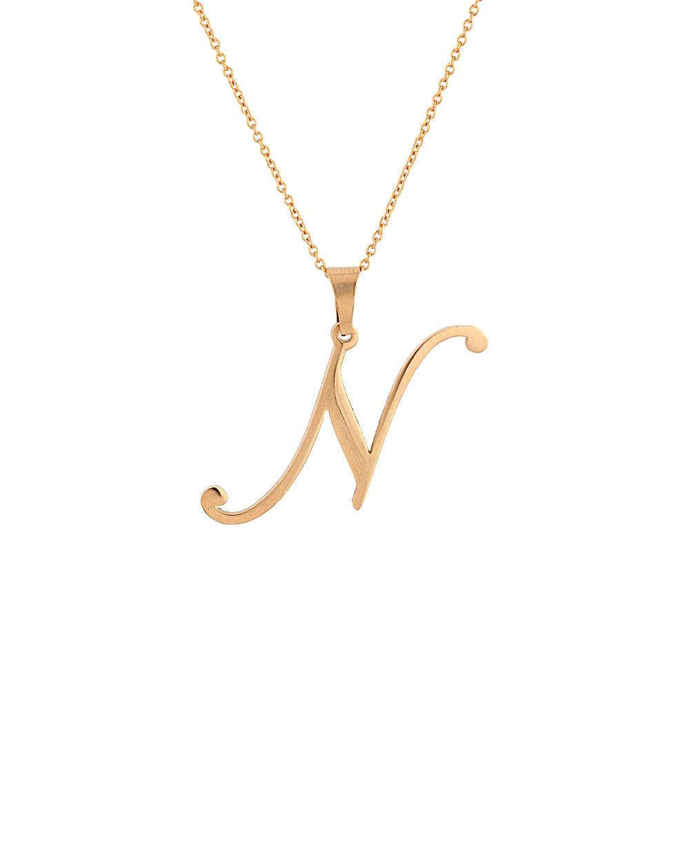 Buy gold toned n shape alphabet pendant online india voylla gold toned n shape alphabet pendant mozeypictures Choice Image