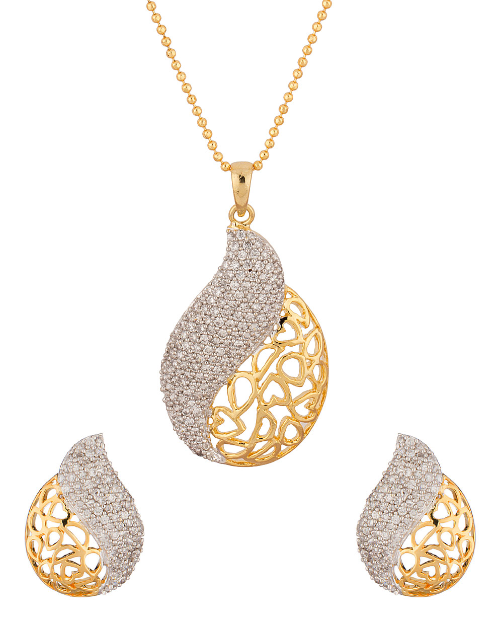 Buy Sensational Yellow Gold Toned Pendant Set With Chain & With ...