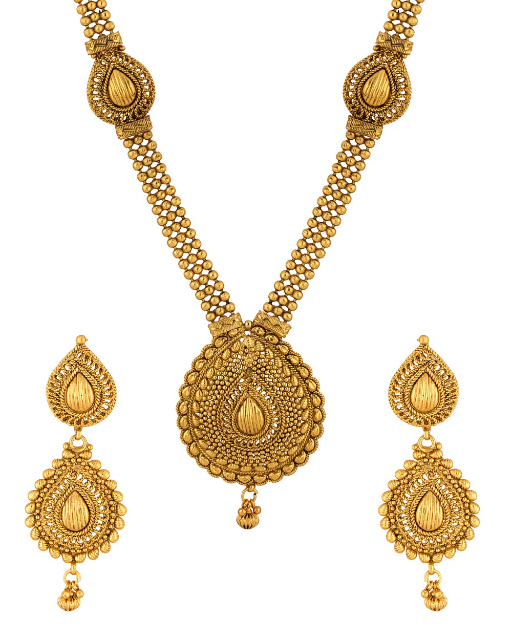 Buy Golden Traditional Long Necklace Set Online India | Voylla