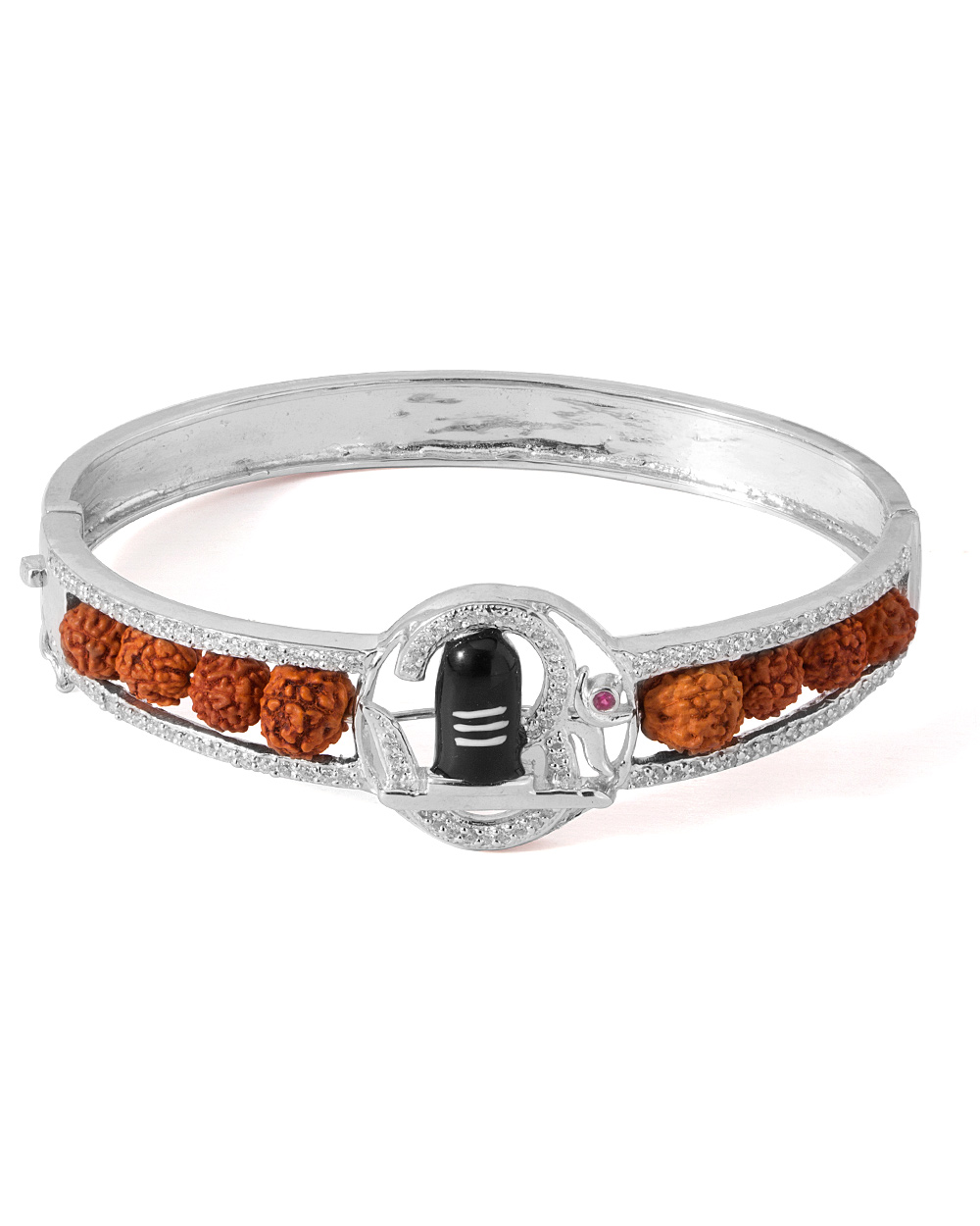 Buy Lord Shiva Lingam Sterling Silver Bracelet Embedded With Faux ...