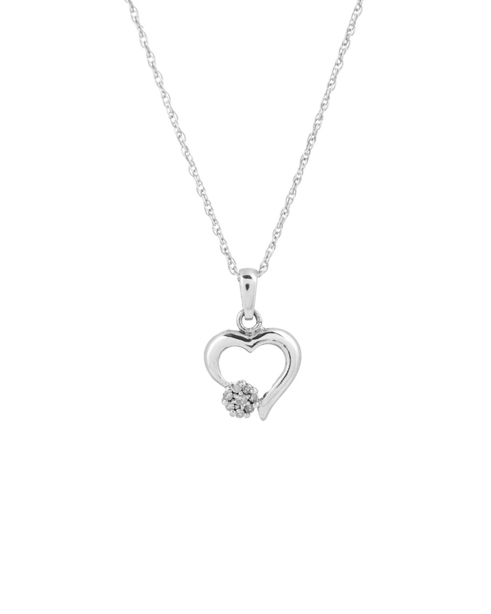 Buy elegant 925 sterling silver heart shaped diamond pendant with elegant 925 sterling silver heart shaped diamond pendant with chain mozeypictures Images