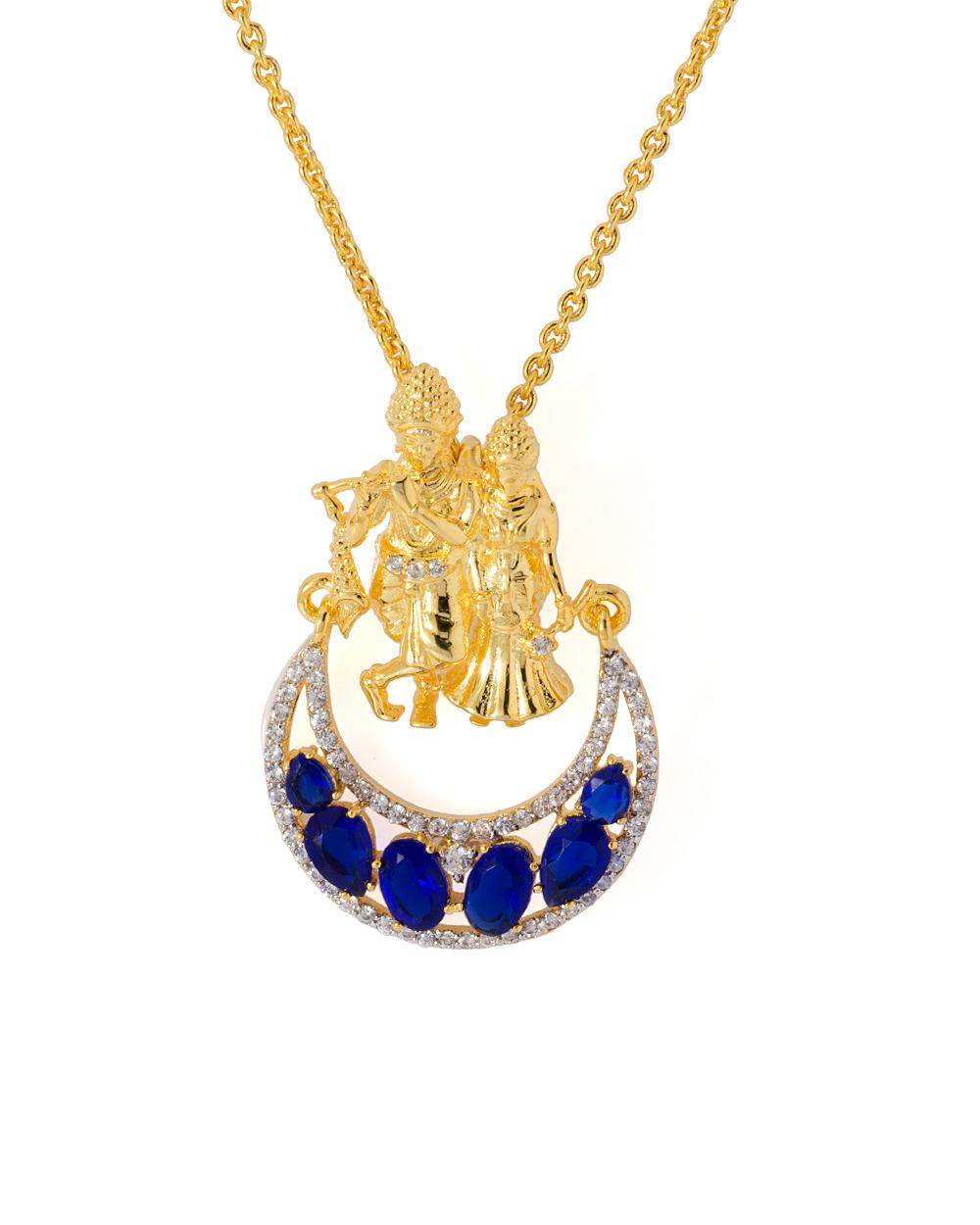 Buy blue white cz embellished radha krishna pendant with chain blue white cz embellished radha krishna pendant with chain aloadofball Gallery
