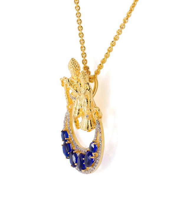 Buy designer pendants blue white cz embellished radha krishna blue white cz embellished radha krishna pendant with chain aloadofball Choice Image