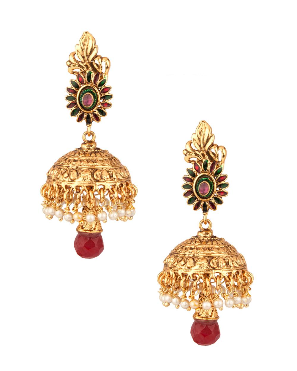 Buy Ethnic Golden Jhumka With Pearl Drops Online India | Voylla