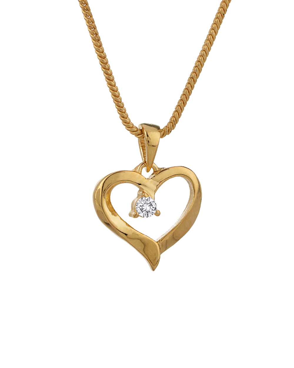 Buy yellow gold plated heart designer pendant with chain online product dimension aloadofball Images