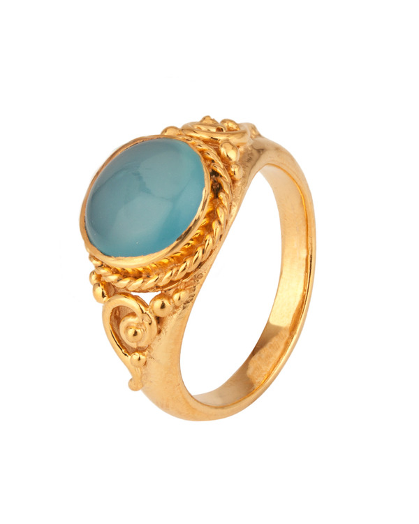 Cool Light Blue Stone Embellished Gold Plated Ring