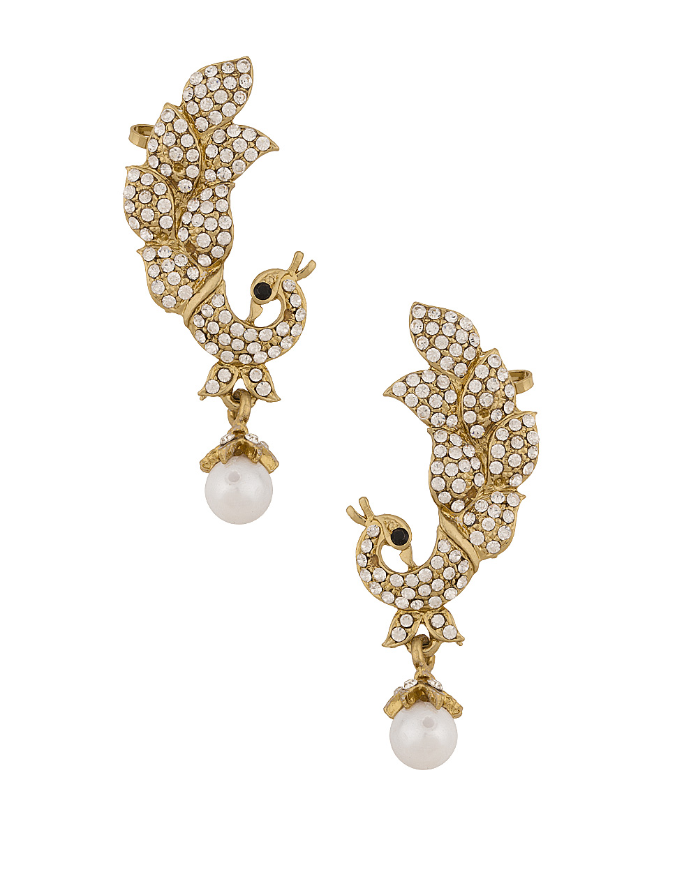 Buy Fabulous Peacock Design Ear Cuffs In Gold Tone Online India ...