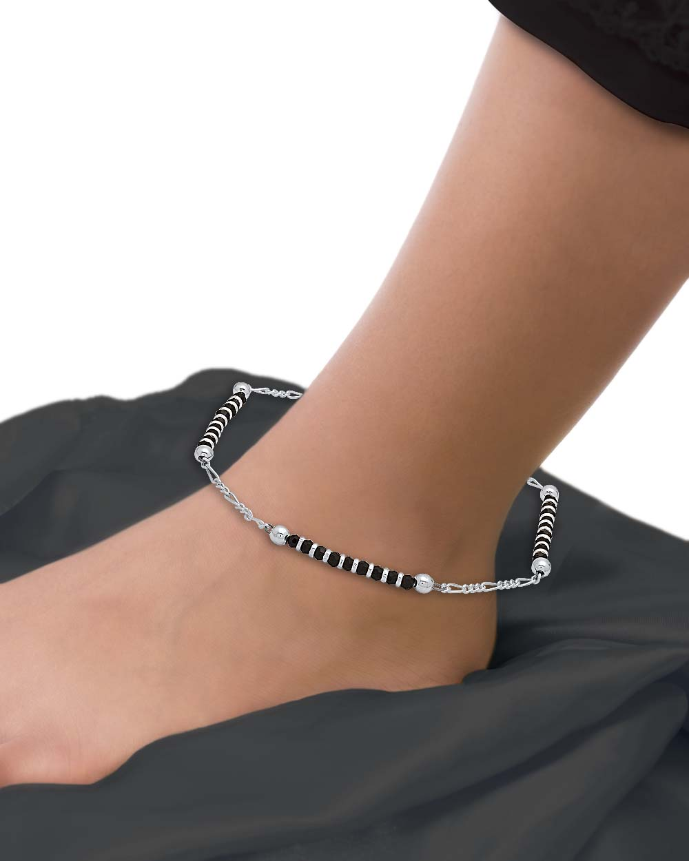 Buy 925 Sterling Silver Anklets Studded with Black Beads Online ...