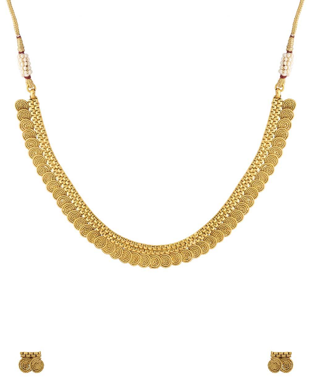 Buy Gold Plated Spiral Designer Necklace Set Online India | Voylla