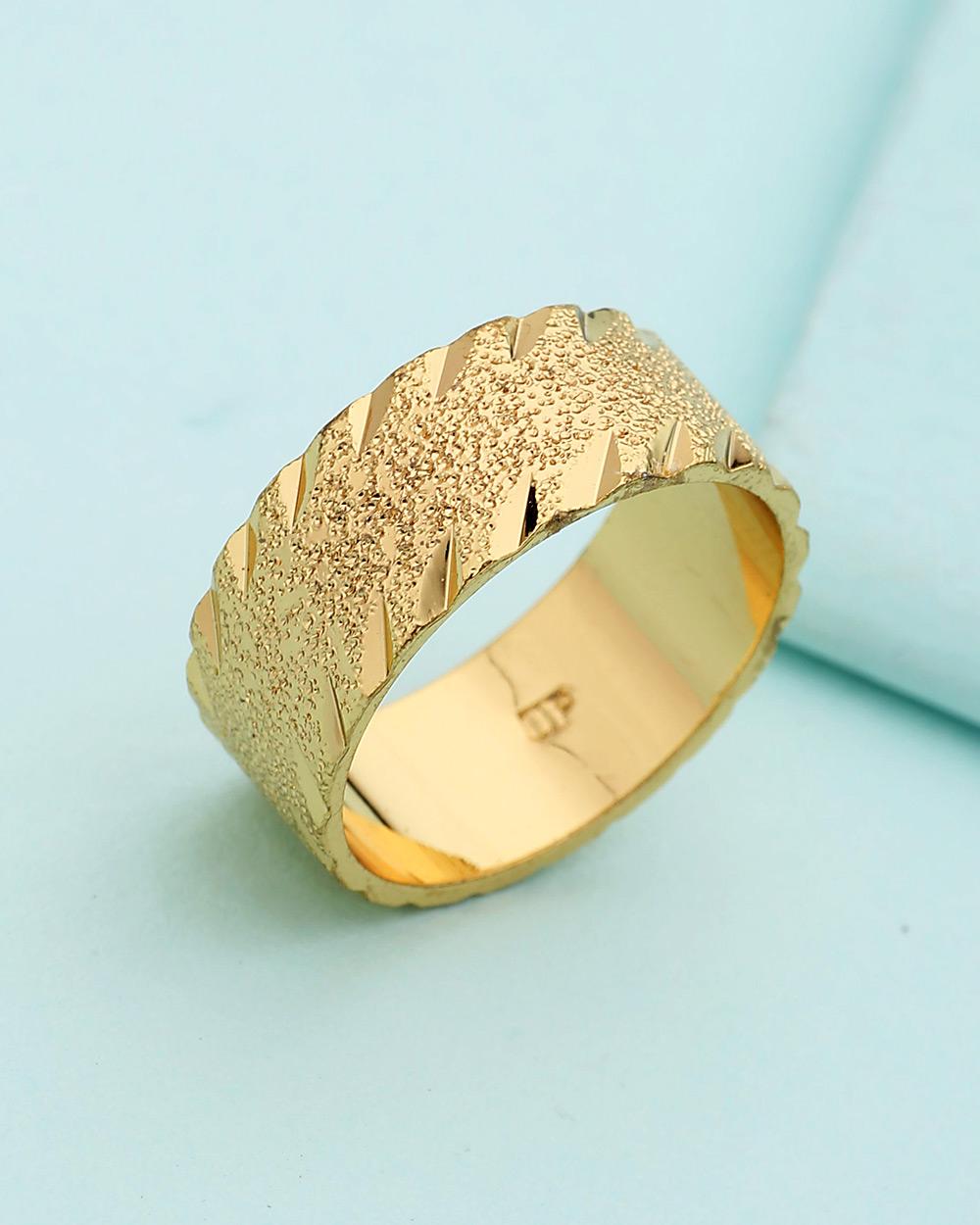 Buy Textured Golden Ring For Men Online India | Voylla