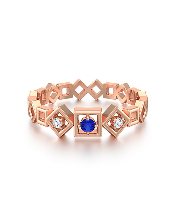 Buy Designer Rose Gold Ring Diamonds and Blue Sapphire line