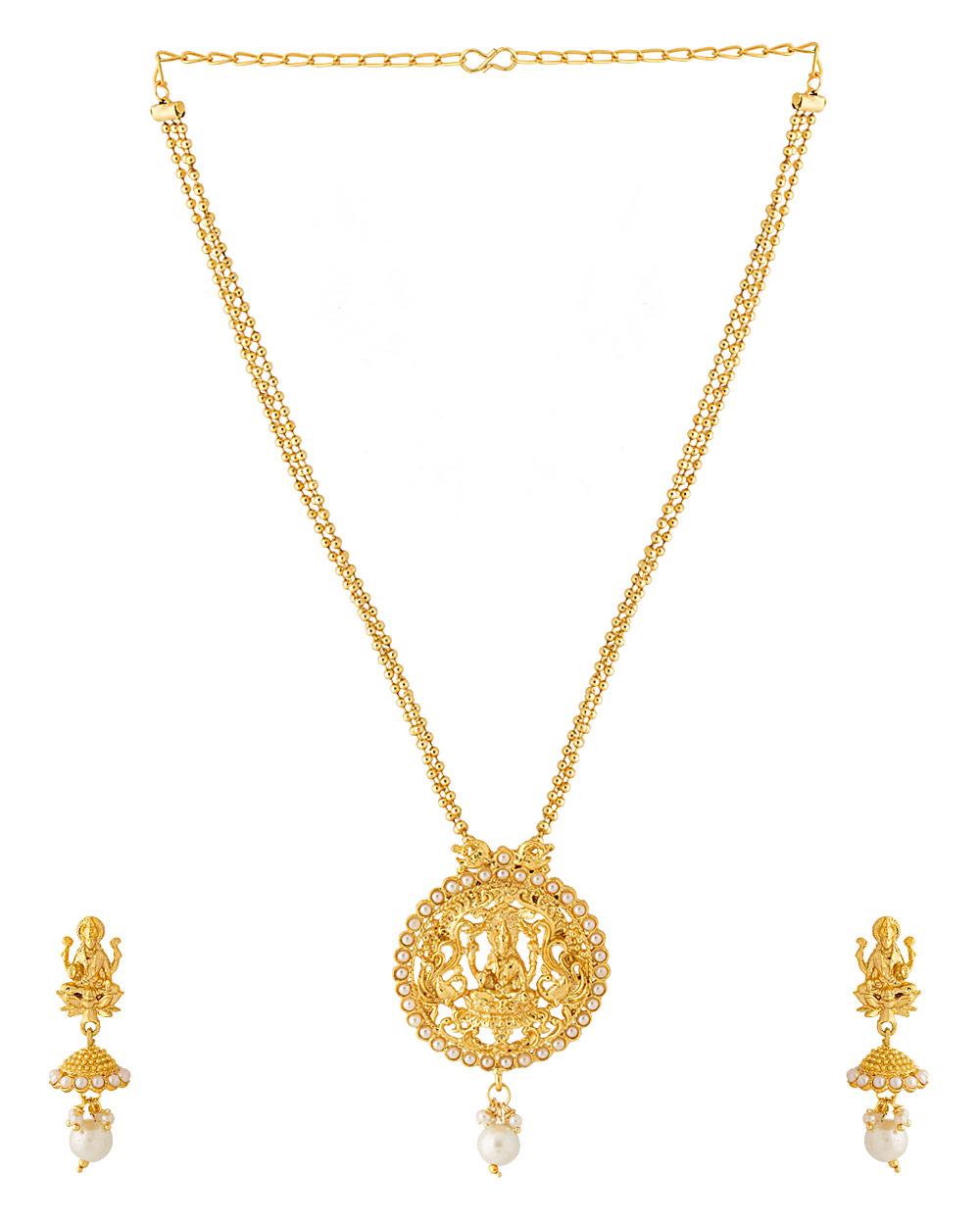 Gold Plated Temple Design Pendant Set with Lakshmi Motif   Buy ...