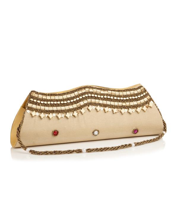 30192f08c64 Buy Designer Clutches Exquisite Golden Clutch With Bead Work Online ...