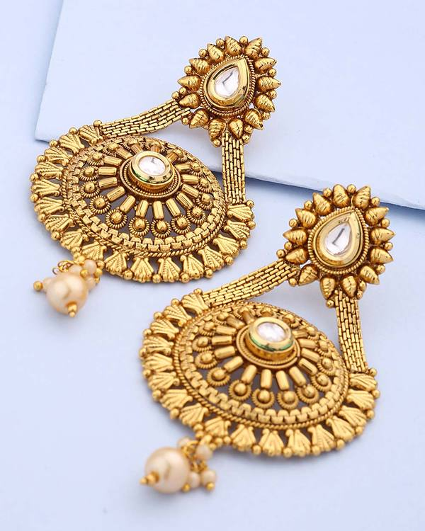 9356ced1a231d Earrings Round Shape Gold Plated Earring Voylla