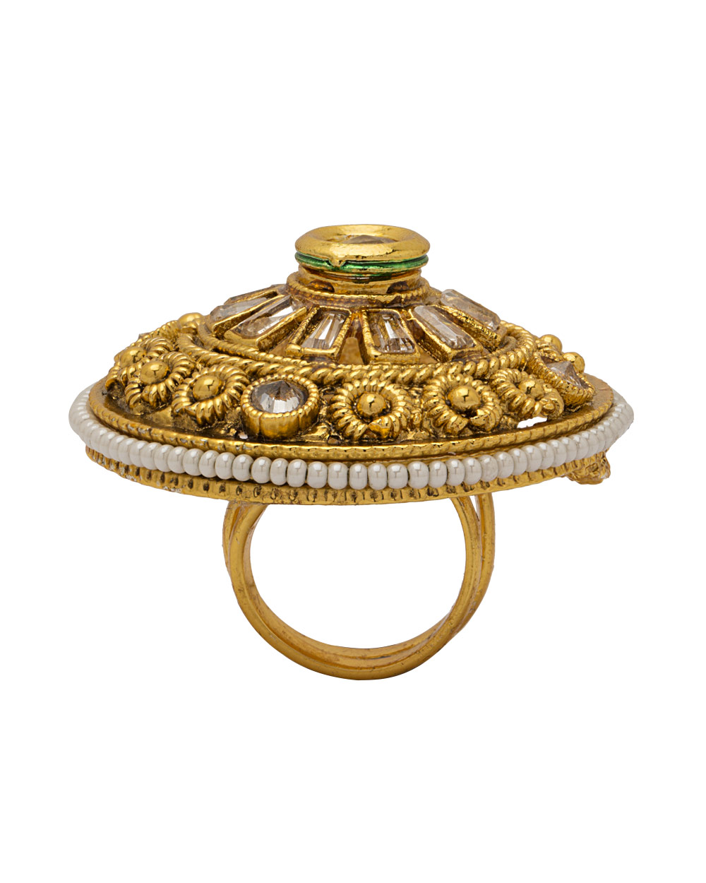 Buy Classic Cocktail Ring Studded With Kundan Online India | Voylla
