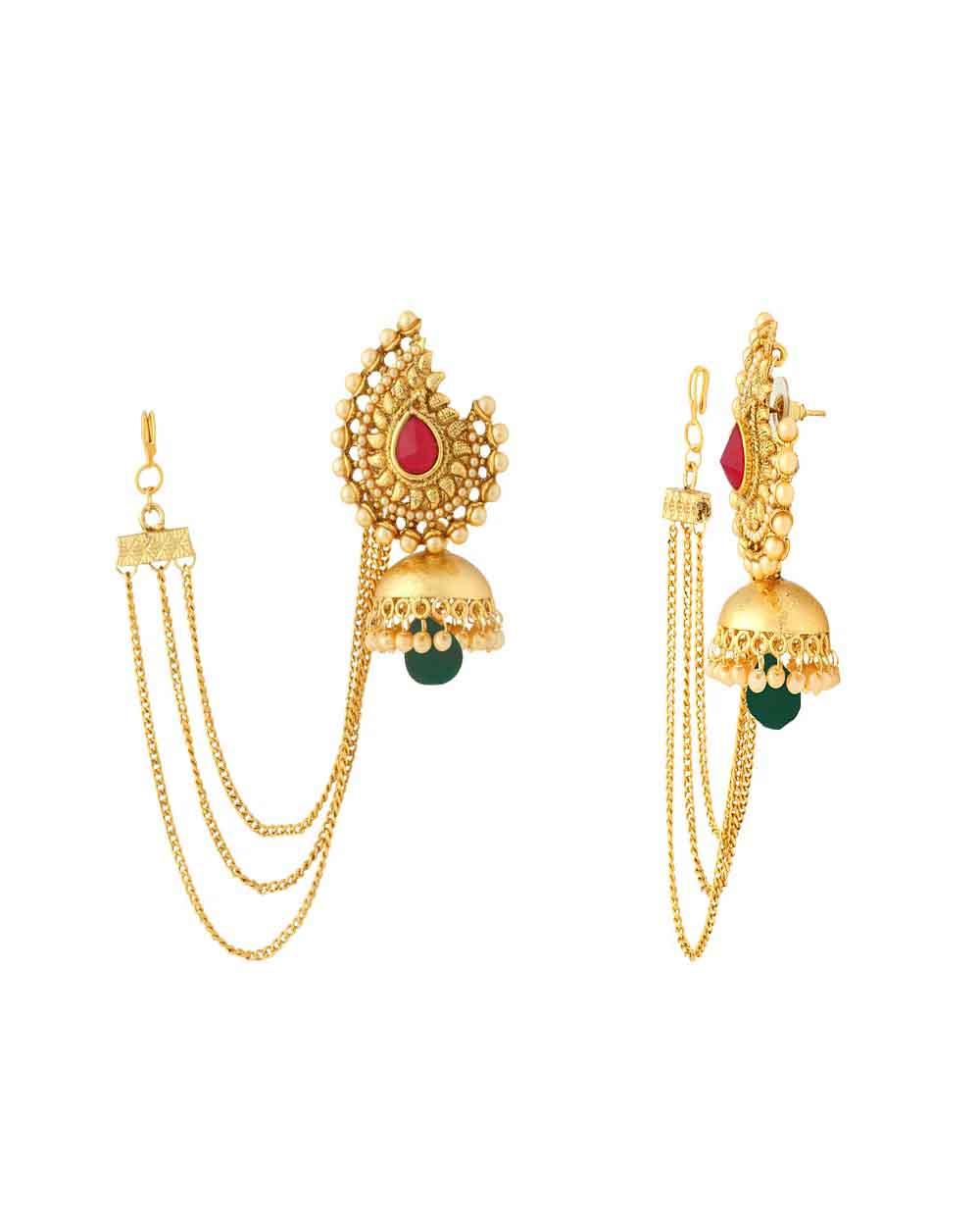 Traditional Women\'s Jhumka Earrings with Dainty Sahara Chain | Buy ...