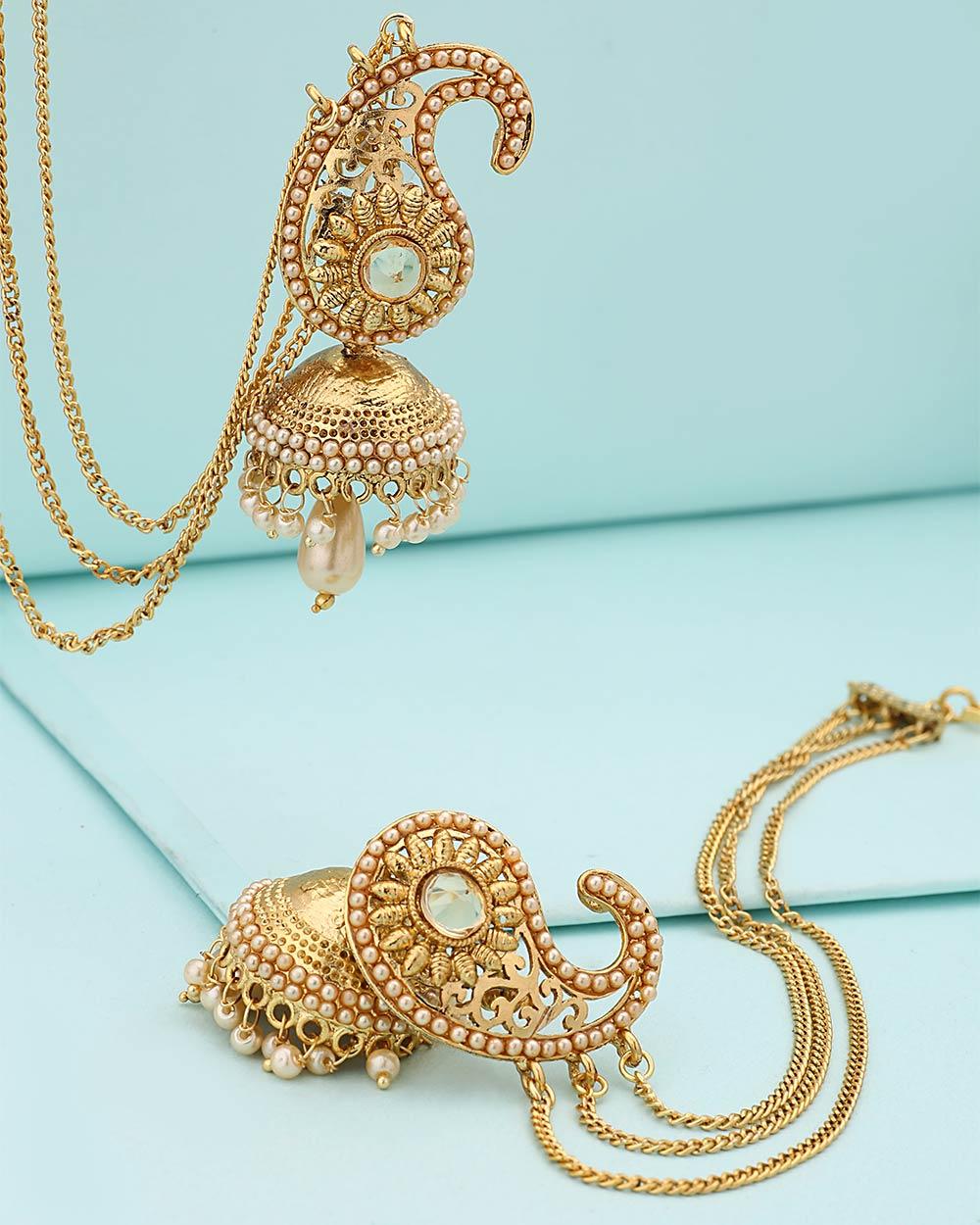 Buy Beautiful Ethnic-Style Jhumka Earrings with Sahara Chain ...