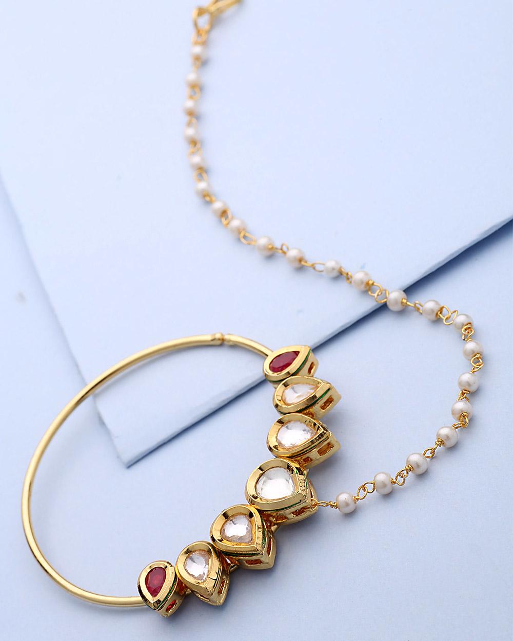 Buy Lovely Nose Ring With Kundan Embellishment Online India | Voylla