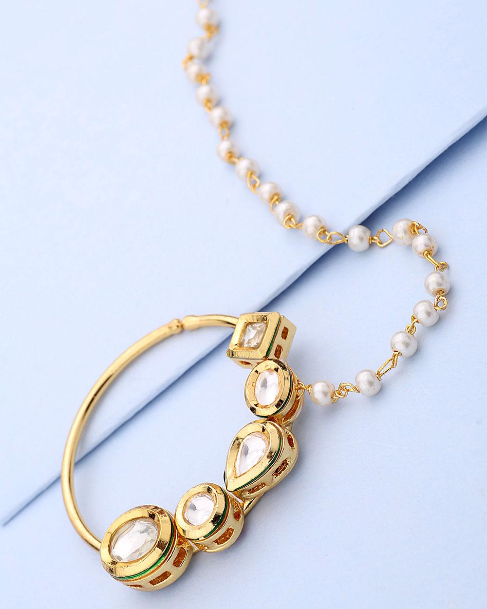Yellow Gold Plated Kundan Nath-Style Nose Pin | Buy Designer ...