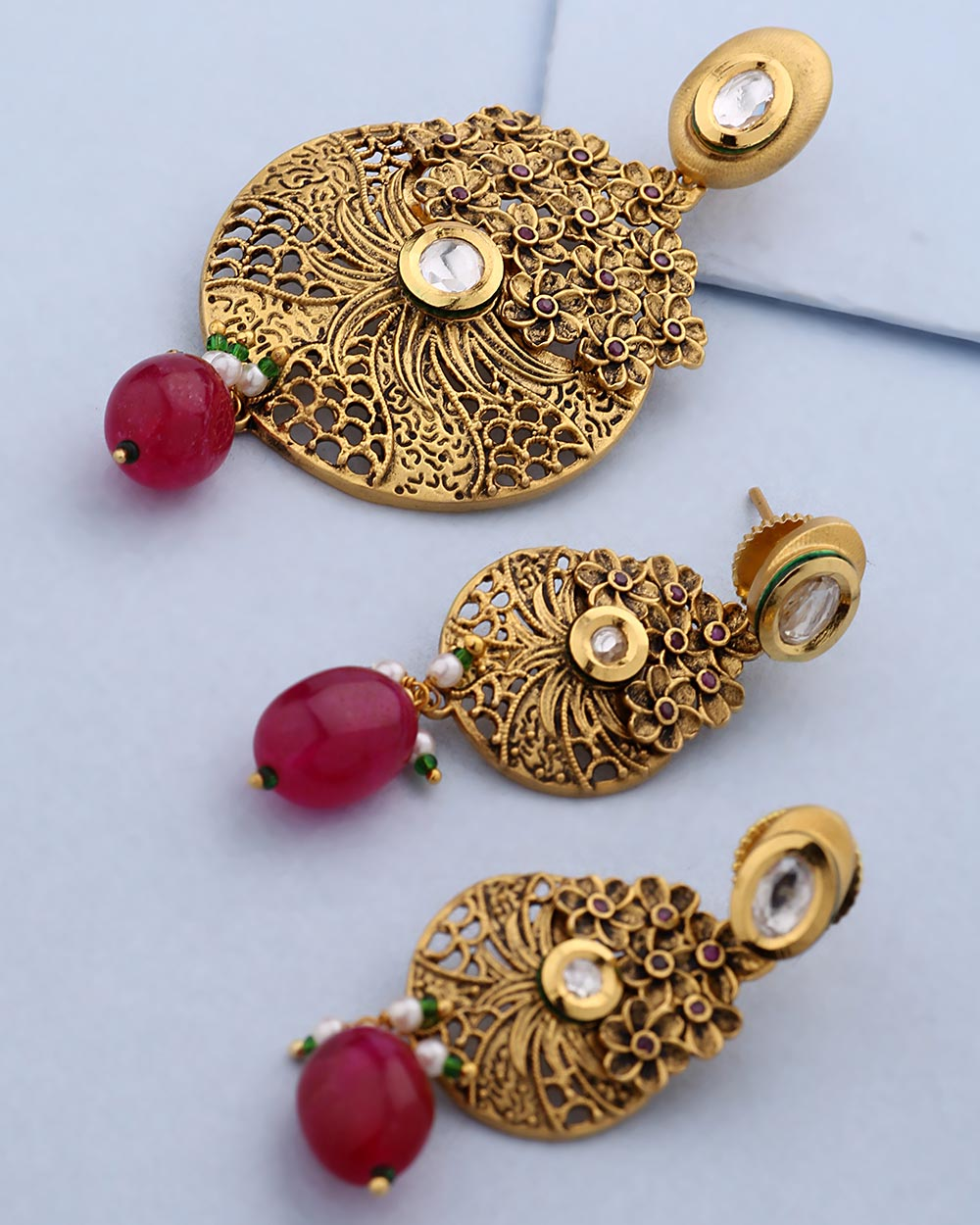 Buy Designer Gold Pendant Set Without Chain With Red Stone For ...