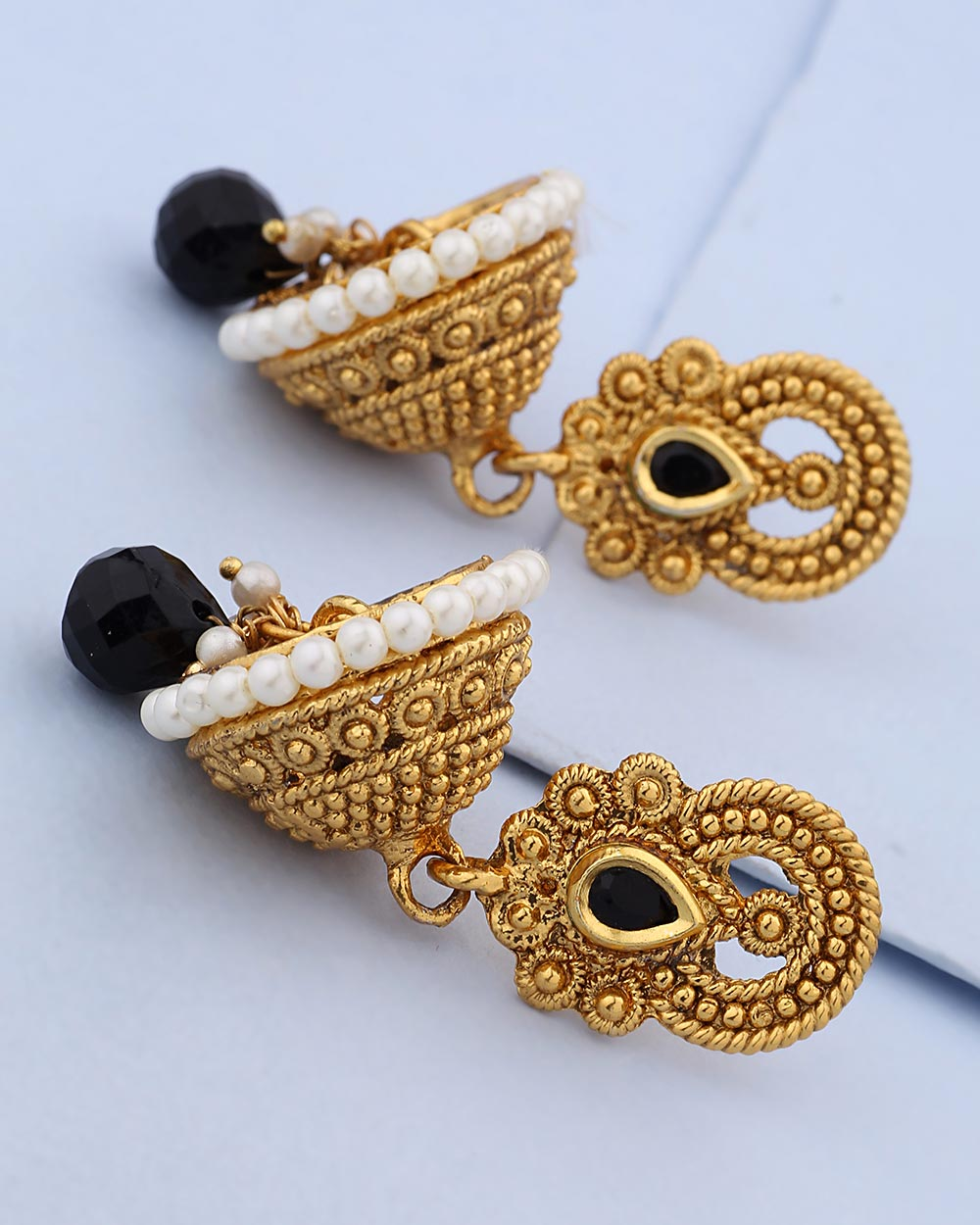 Buy Gold Plated Jhumka Earrings with Black Gems Online India | Voylla