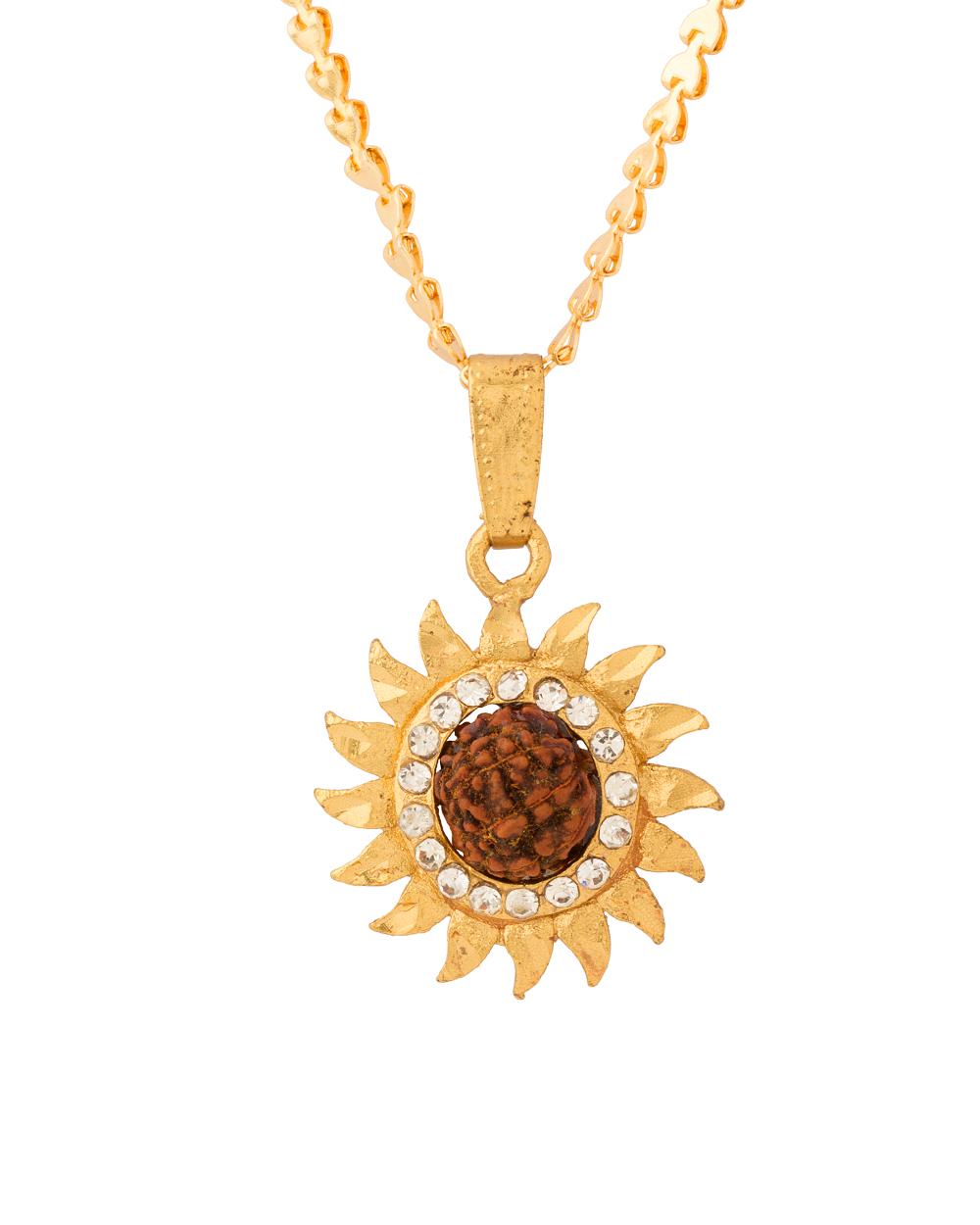 Buy Sun Design Pendant With Chain For Men Online India | Voylla