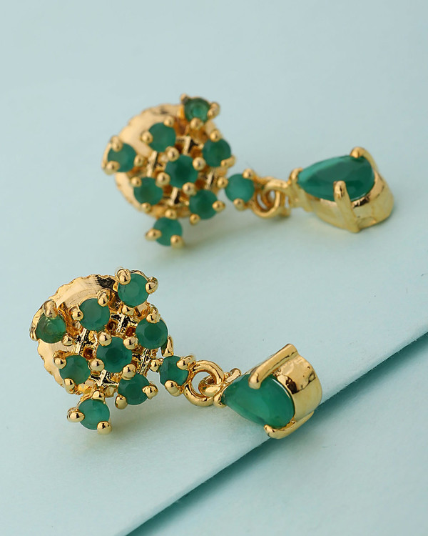 39730642b Buy Designer Earrings Green Stone Studded Designer Stud Earrings Online |  VOYLLA.