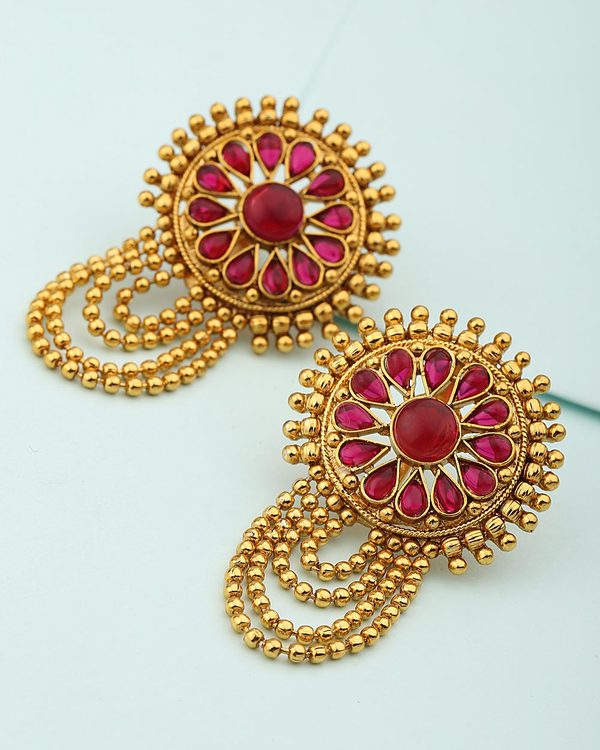 1408dd766 Buy Designer Earrings Traditional Round Stud Earrings with Red Stones  Online | VOYLLA.