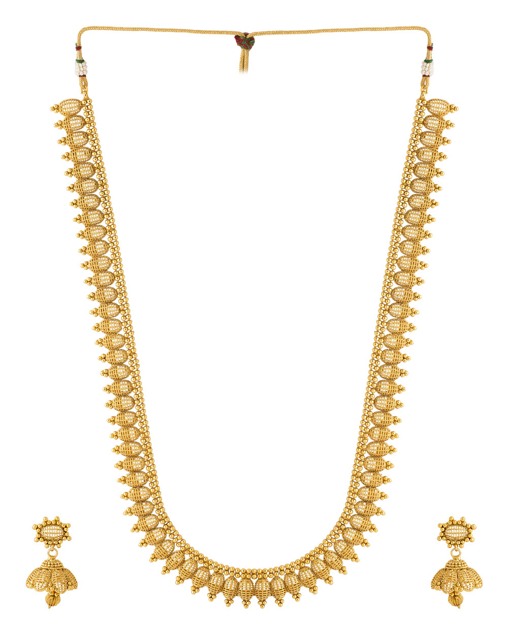 Buy Temple Style Yellow Gold Plated Necklace Set with Jhumkas ...