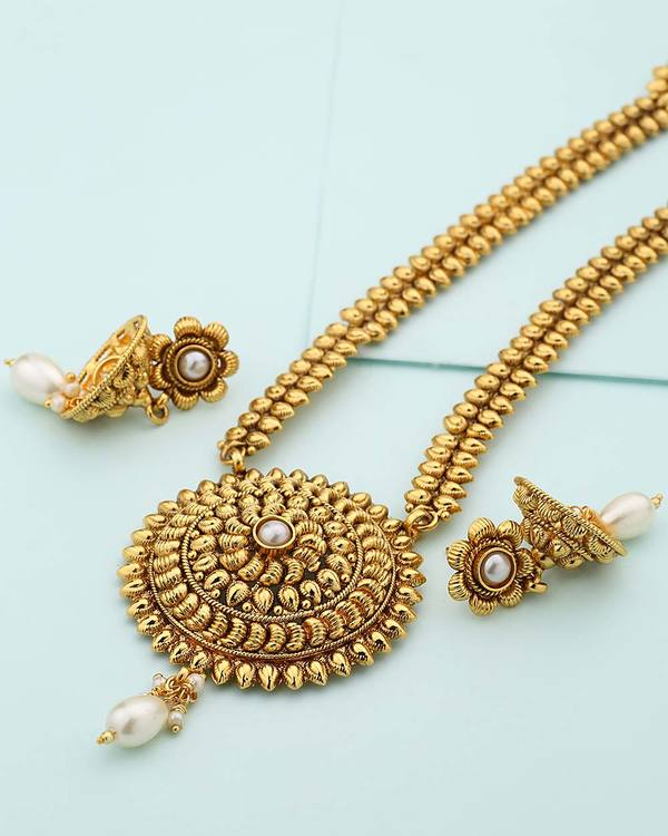 804d4ea5661 Traditional Designer Women's Long Necklace Set With Pearl Beads ...