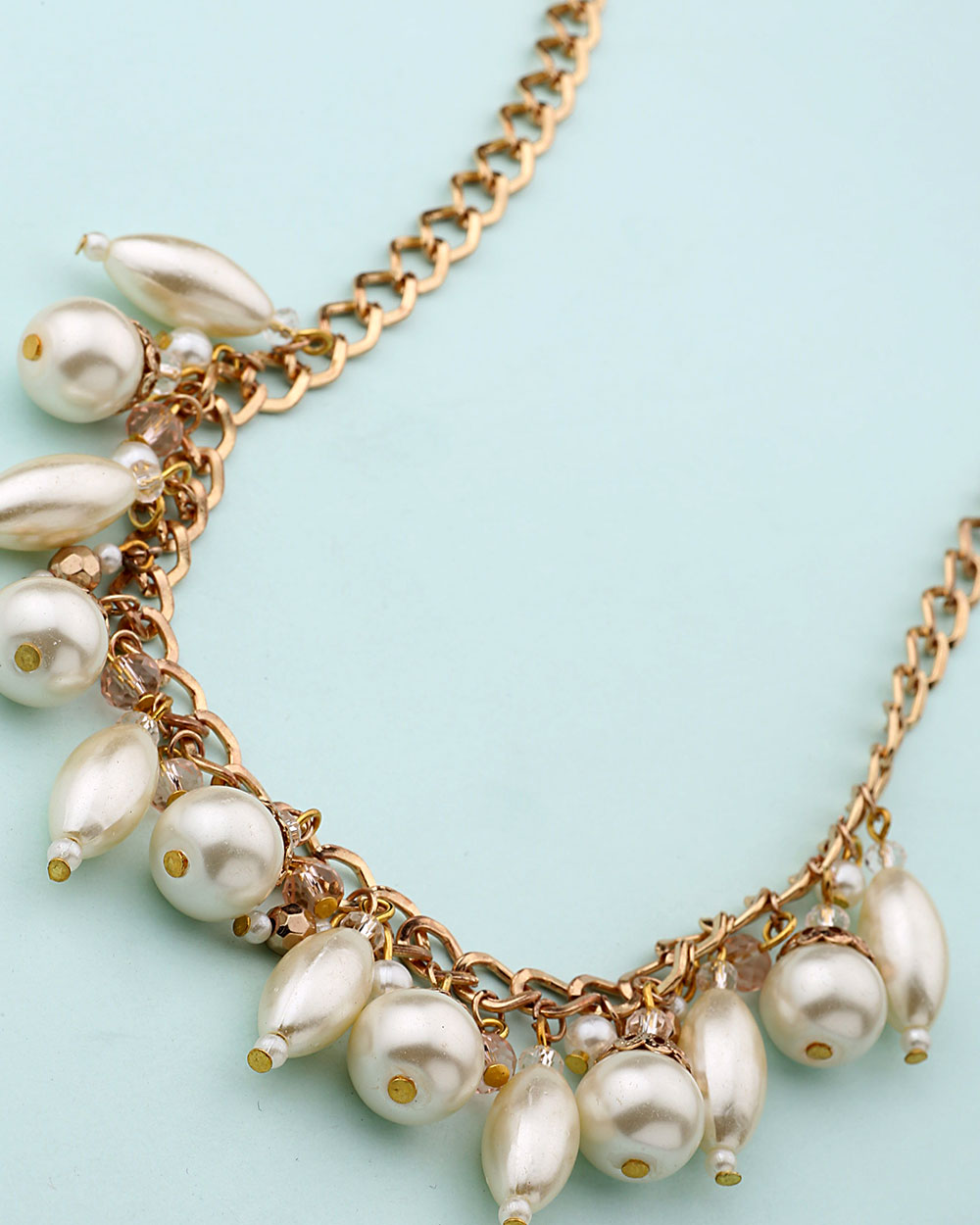 Buy Rose Gold Necklace Dangled With Pearl Beads Online India | Voylla