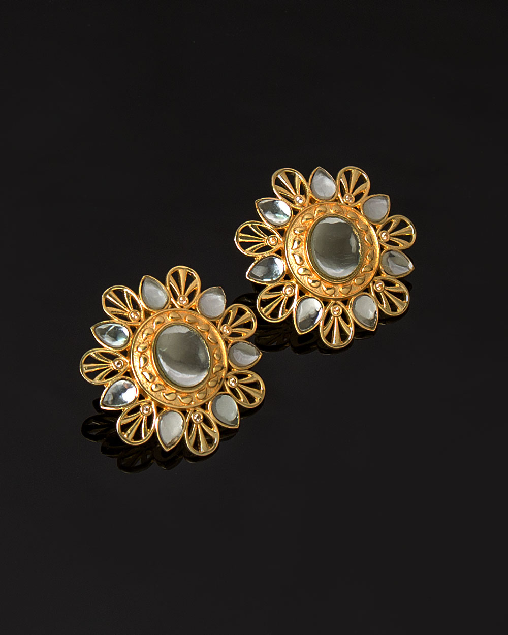 Rajputana Kundan Floral Stud Earrings with Gold Plating | Buy ...