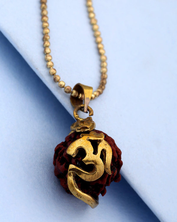 Om Designer Rudraksha Pendant With Chain For Men In Gold Plating