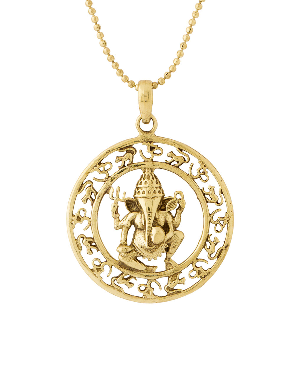Buy Ganesh In Round Design Pendant With Chain For Men In Gold ...