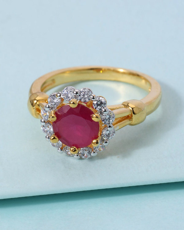 1d19912c8cc40 Floral Design Ring For Women Studded With Red Stone & CZ