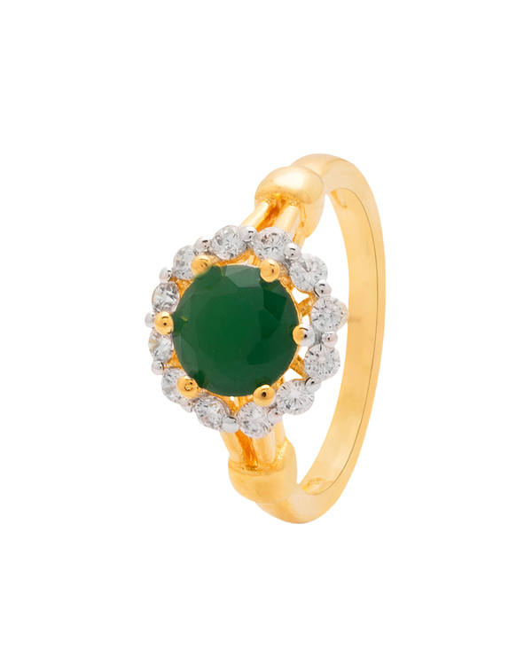 8dc23cd400e41 Floral Design Ring For Women Studded With Green Stone & CZ