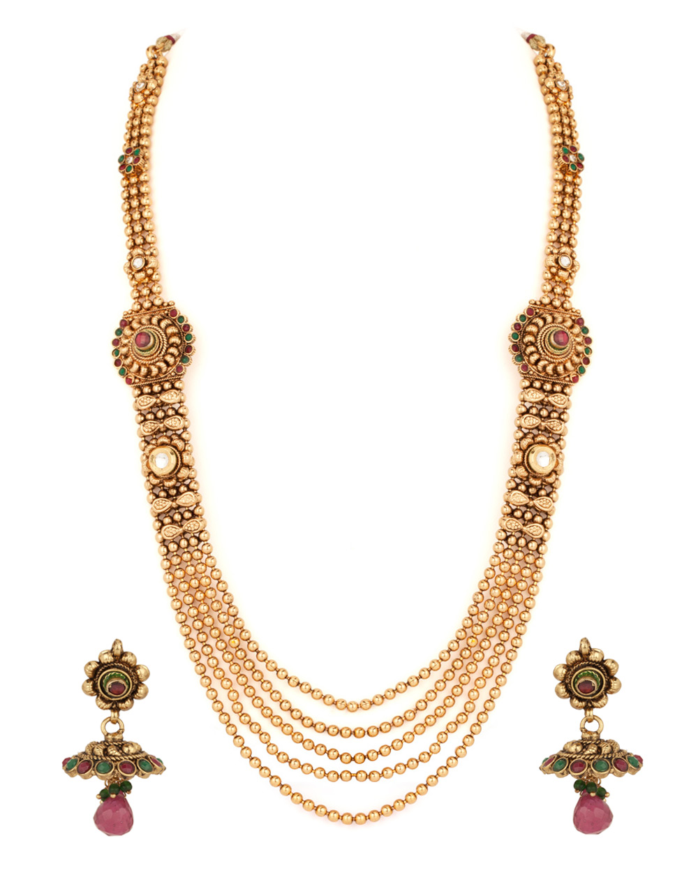 Buy Classy Gold Plated Long Chain Necklace Set Online India | Voylla