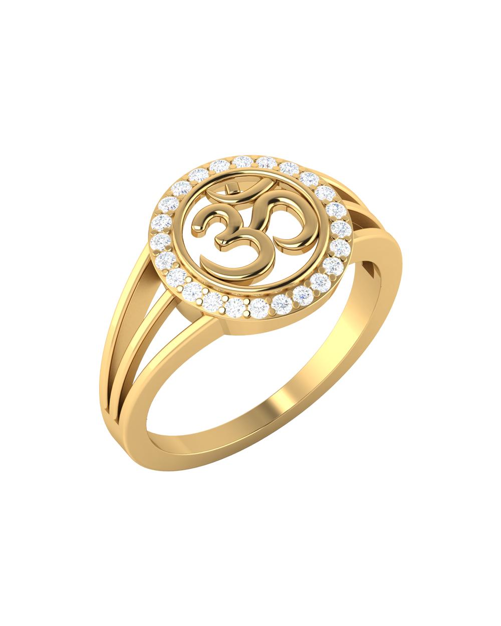 Buy OM Engraved 14K Gold Ring For Men Online India | Voylla