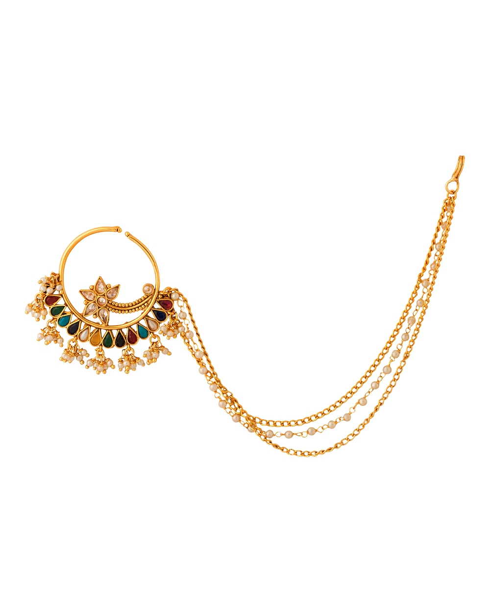 Buy Traditional Nath Nose Ring with Gold Plating Online India | Voylla